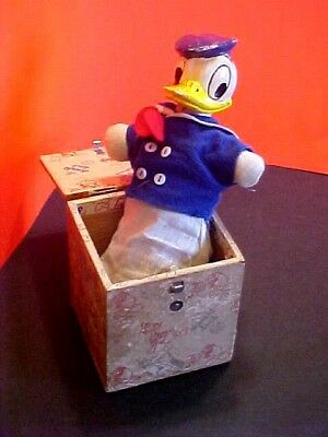 1930s WALT DISNEY DONALD DUCK RARE JACK IN THE BOX BEAUTIFUL WORKING CONDITION