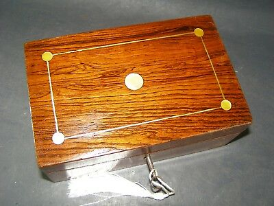 Antique Rosewood Bedside Box Lock & Key 1870 Mother Of Pearl Inlay Sent Same Day