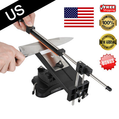 Multifunction Stainless Steel Knife Sharpener System Tool W/4 Stones Kitchen New