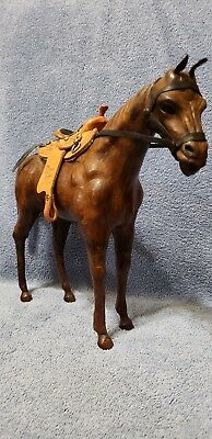 Vintage Brown Leather Wrapped Horse Figurine / Statuette with Western Saddle