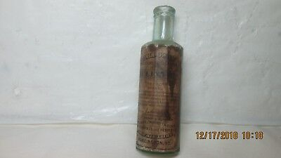 Real Early H.N Downs Elixer Bottle With Paper Label, Burlington, Vermont