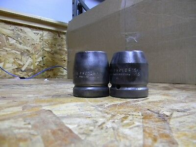 "2 Proto 6 Point 1"" Drive Impact Sockets 1 1/8"" 15/16"" Used"