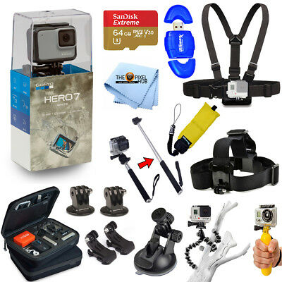 GoPro HERO7 HERO 7 White All In 1 PRO ACCESSORY KIT with 64GB Micro SD + MORE