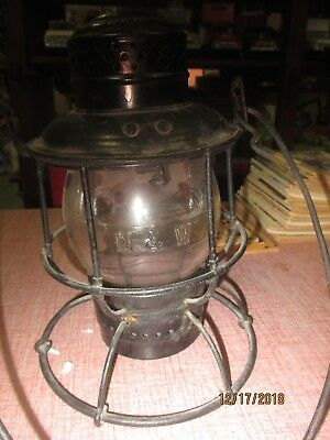 Armspear Railroad Lantern N&W Norfolk & Western Railway  Embossed Globe