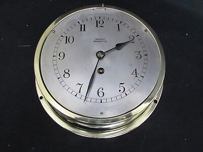 Vintage Ships Bulkhead Brass Case Wall Clock Barkers Kensington, French Movement