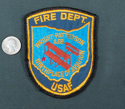 Wright Patterson AFB Fire Department Patch Air Force Old cheesecloth back