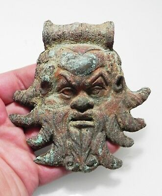 Zurqieh - As9997- Ancient Roman Bronze Applique Of Pan. Large. 100 - 200 A.d