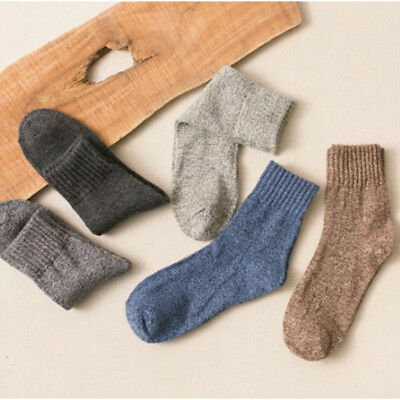 5 Pairs Womens Wool Cashmere Warm Soft Thick Casual Dress Solid Winter Socks Hot