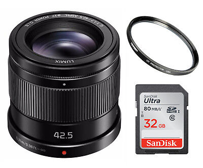 PANASONIC LUMIX G Lens, 42.5mm, F1.7 ASPH.POWER Optical I.S., H-HS043K Bundle