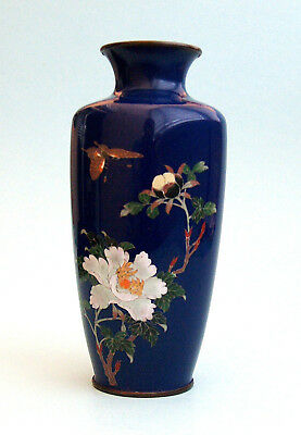 VERY FINE JAPANESE CLOISONNE VASE WITH FLOWERS AND BUTTERFLY MEIJI-time