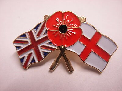 Union Jack / St George Poppy Lapel badge or Tie Pin Badge Armed Forces Veteran