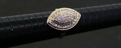 Vintage 14K yellow gold 1.14CT VS2/G diamond cluster cocktail ring size 8