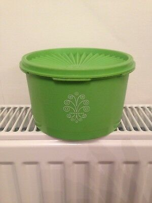 Vintage Retro rare Green Tupperware Storage Container with lid 60s 70s