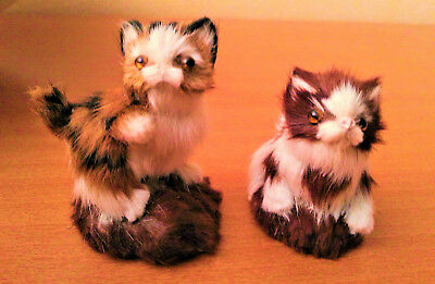 2 adorables chatons chats figurines miniatures poils anciens lovely cats kitten