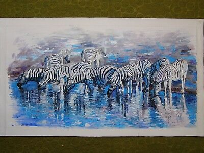 Original Oil Painting African Zebras Art By Artist