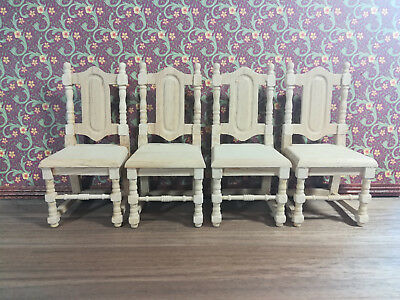 Dollhouse Miniature Set of 4 Unfinished Wood Dining Room Chairs 1:12 Scale