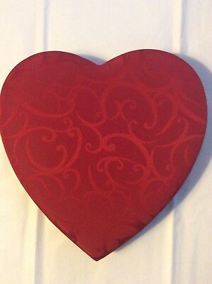 """10"""" Red Heart Romantic Candy Chocolate Fabric Covered Box Excellent Empty"""