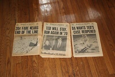 """3 - N.Y. Daily Newspapers July 30, 31 and August 1 - 1969 """"Moon and Ted Kennedy"""""""