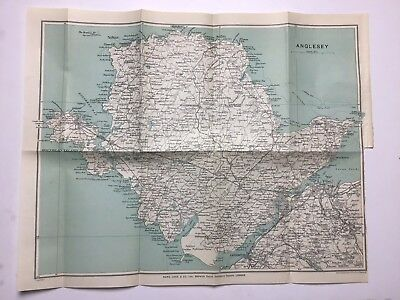 Anglesey, 1929 Antique County Map, Bartholomew, North Wales, Original