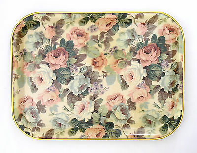 "Vtg 1960s-70s large rectangular fibreglass tray roses 18¼"" 46.5cm Keswick label"