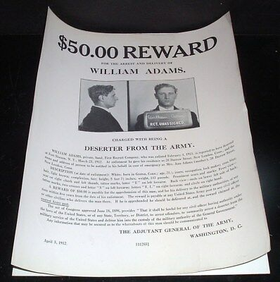 ORIGINAL vintage 1912 WANTED POSTER, william adams, deserter from the army