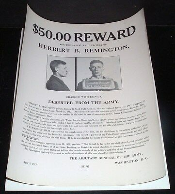ORIGINAL vintage 1912 WANTED POSTER herbert b. remington, deserter from the army