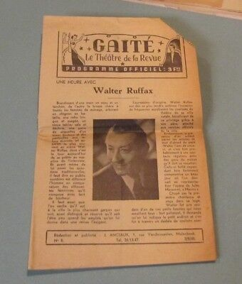 1945 Gaite The Theatre of The Revue Belgium Entertainment Magazine Walter Ruffax