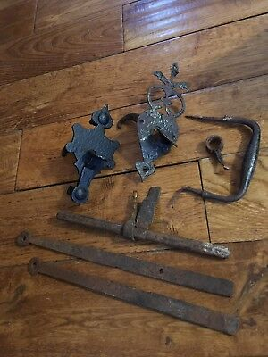 TWO Original Vintage Cast Iron Ornate Gate / Door Latch Plates / Handles as seen