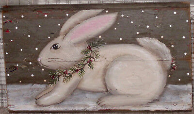 *~*primitive*~* Hp Folk Art Prim Holiday Bunny *~* Old Reclaimed Wood
