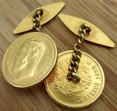 Pair Nicholas II 5 Rouble 1899 Russian Gold Coins Converted To Cuff-links & Box