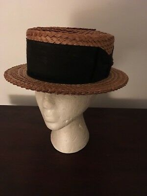 Vintage Men's Snyder's Straw Hat With Black Band Size Medium 7 1/8