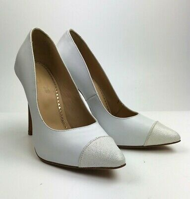Pumps Italy High Heels Pointy Toe Schuhe Leather Decolte Sexy White Bianco 37
