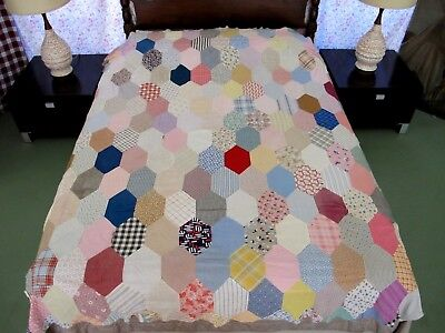 Vintage Hand Pieced Feed Sack HONEYCOMB Hexie Quilt TOP; Many Different Prints !