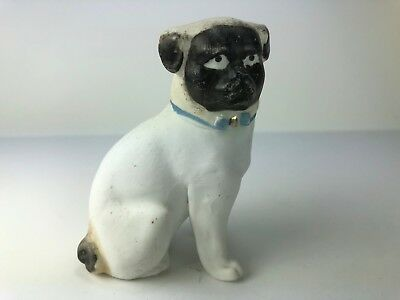Antique Bisque Porcelain Seated Pug Dog With Blue Bow Around Neck, Charming!