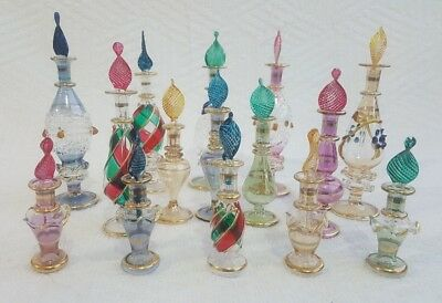 Lot of 15 Egyptian handmade Mouth Blown Perfume Bottles Pyrex Glass Large size