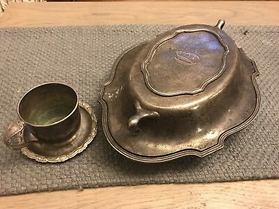 Lot Of Vintage Antique Silver Plate Serving Dish, Plate, Cup