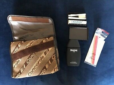 VINTAGE CONCORDE Air France AMENITY BAG FOR HIM PARFUME, NAIL FILE, TOOTH BRUSH