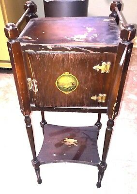 Antique Vintage Ideal Smoker Tobacco Smoking Stand Ashtray Humidor Table