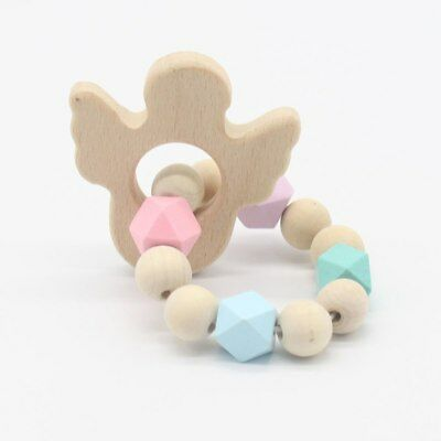 Baby rattle Bracelets Wooden Teether Silicone Beads Teething Toys Baby Nursing