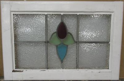 """MID SIZE OLD ENGLISH LEADED STAINED GLASS WINDOW Abstract Floral 23.75"""" x 15.75"""""""