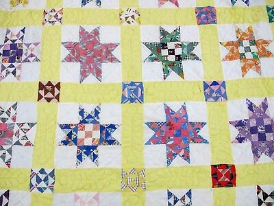 Vintage Hand Pieced Sewn Feed Sack NINE PATCH SAWTOOTH STAR Quilt; Never Washed!