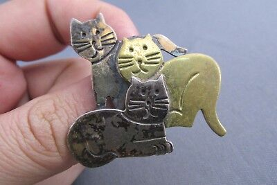 Vintage Mexico Taxco Sterling Brass 3D Kitty Alley Cat Pin Brooch