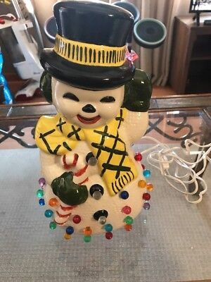 Vintage Christmas Ceramic SNOWMAN Light on Totally Awesome!!! 1970s