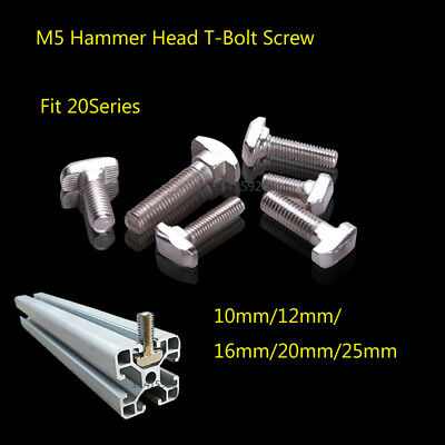 M5 Hammer Head T-Bolt Screw For 2020Series EU Aluminum T-slot 10/12/16/20/25mm