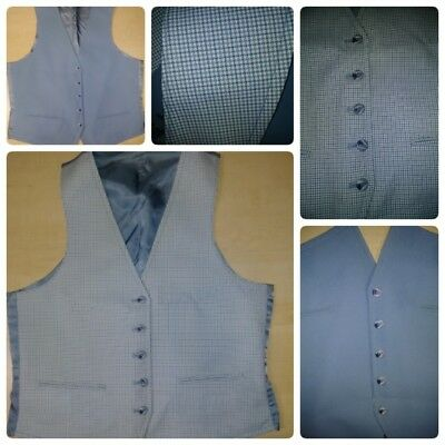 Vintage Polyester Reversible Vest Solid Blue / Checker Houndstooth 38R 5 Button