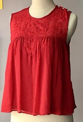 3247d811ce4e2 NEW Zara Size Medium Women Red Sleeveless Dotted Mesh Floral Embroidery  Lace Top