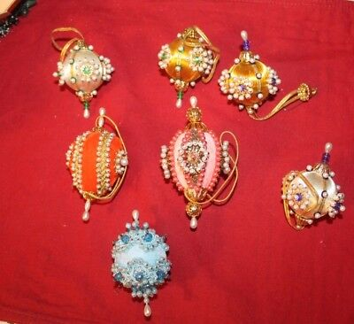 7 Small Beaded Satun Sequin Ornaments