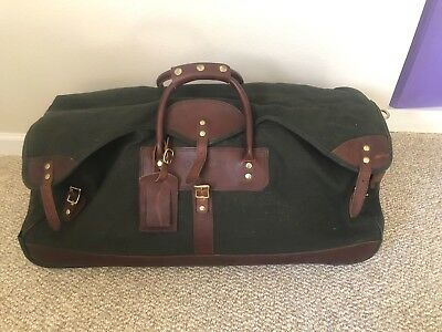 "ORVIS 30"" Battenkill Green Canvas / Brown Leather Rolling Wheeled Duffle Bag"