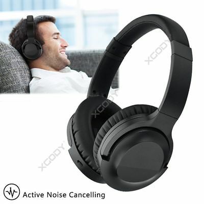 Black 804 Active Noise Cancelling Bluetooth Headphone w/ Built-in Microphone