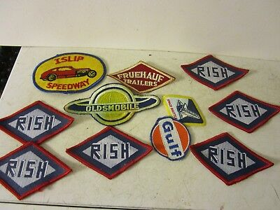 Vintage Advertising Gulf Oil Rish Oldsmobile Islip Speedway Patch Lot